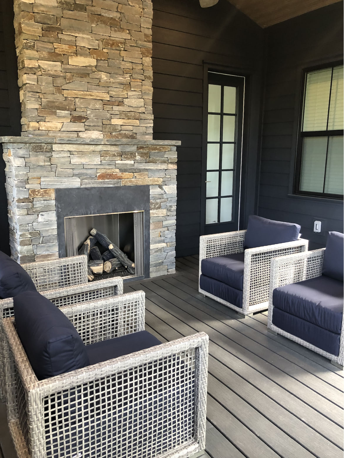 Lake Cove porch seating and outdoor fireplace