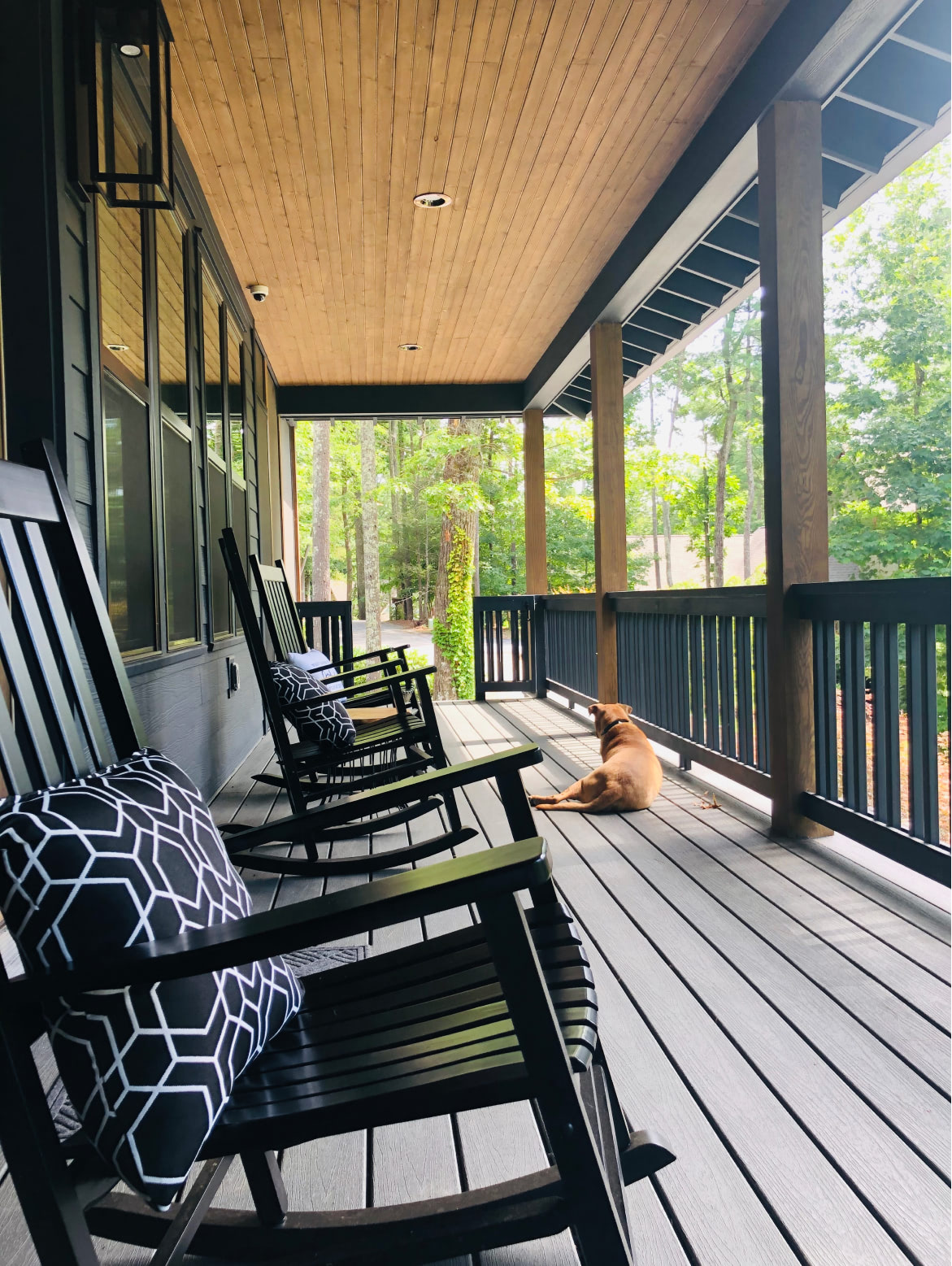 Lake Cove porch with family dog