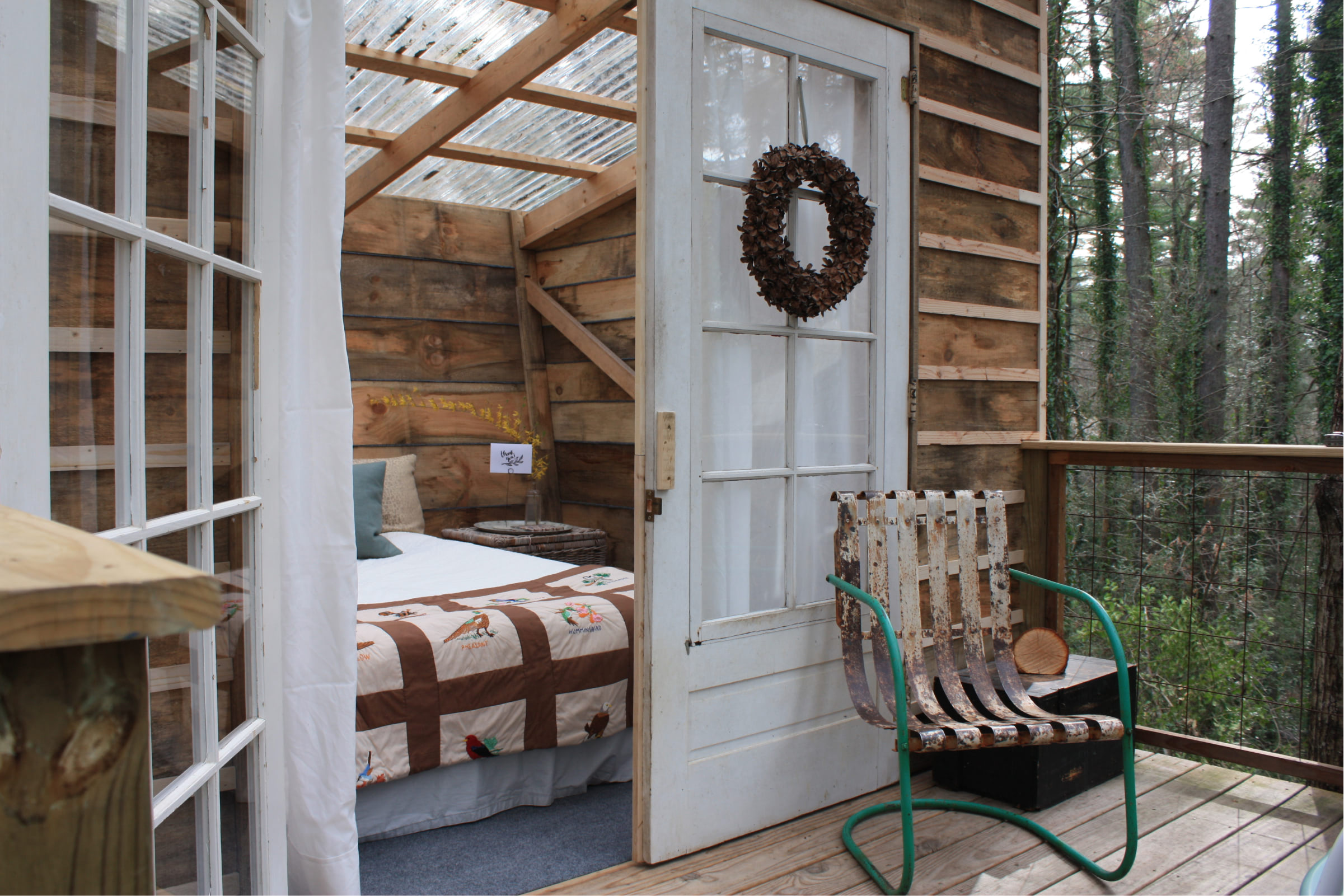 Tree House double doors and front porch