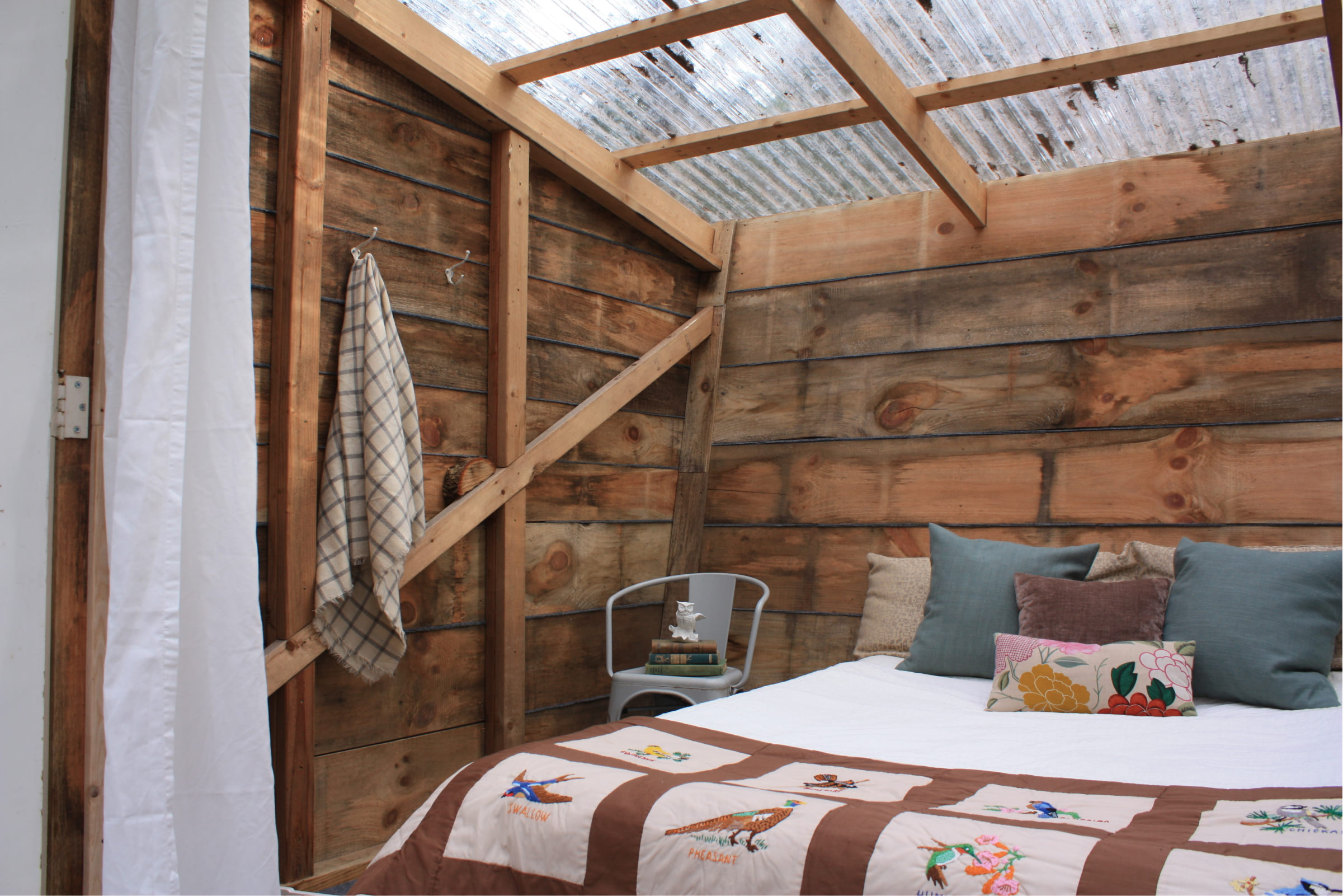 Tree house interior with bed