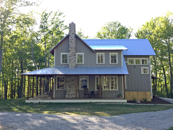 Exterior shot of the front of the house and porch