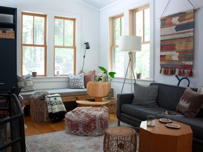Kanuga farmhouse interior shot of living room with natural light
