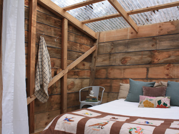 Treehouse interior shot of bed and clear roof